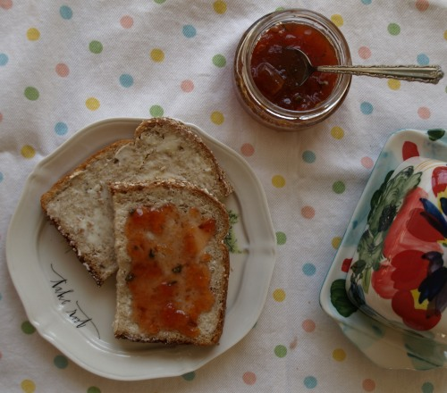 Peach and herb jam