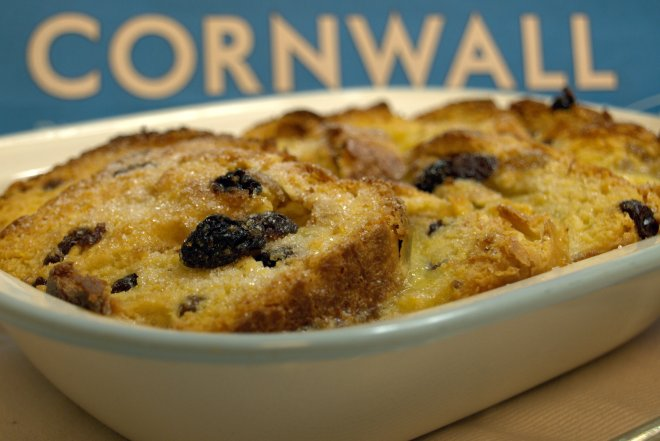 Saffron bread and butter pudding