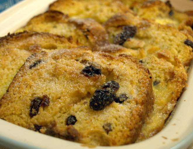 Saffron bread & butter pudding