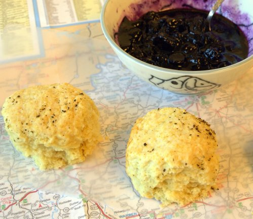 Biscuits with blueberry and black pepper compote
