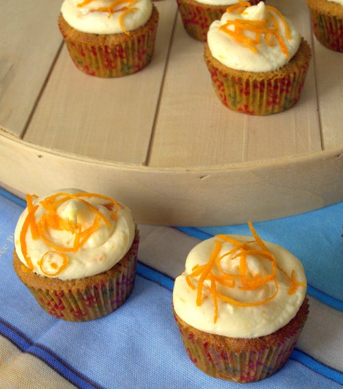 Carrot cupcakes with apricot frosting