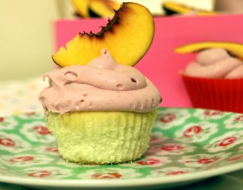 Peach melba cupcakes
