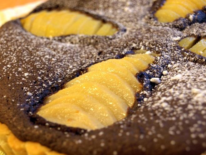 Chocolate pear & almond tart