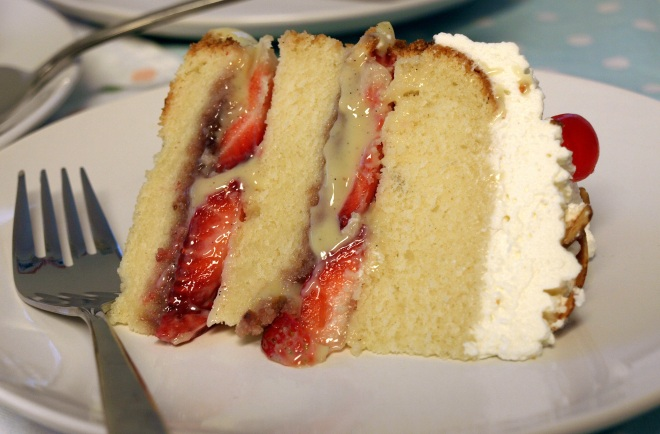 Strawberry trifle layer cake