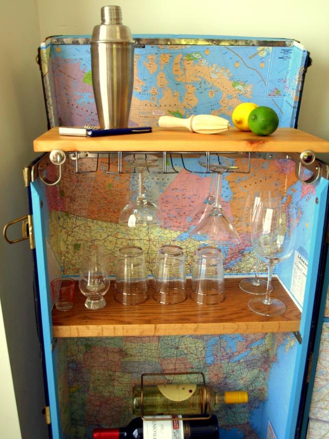 Steamer trunk cocktail bar